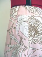 Selina white flowers on pink linen dressmaking fabric